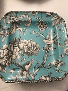 222-Fifth-Adelaide-Teal-Set-Of-4Square-Salad-Plates-French-Toile-Bird-New