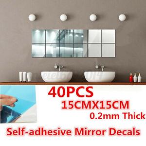 40x Mirror Tile Wall Sticker Square Self Adhesive Room Decor Stick On 15x15cm
