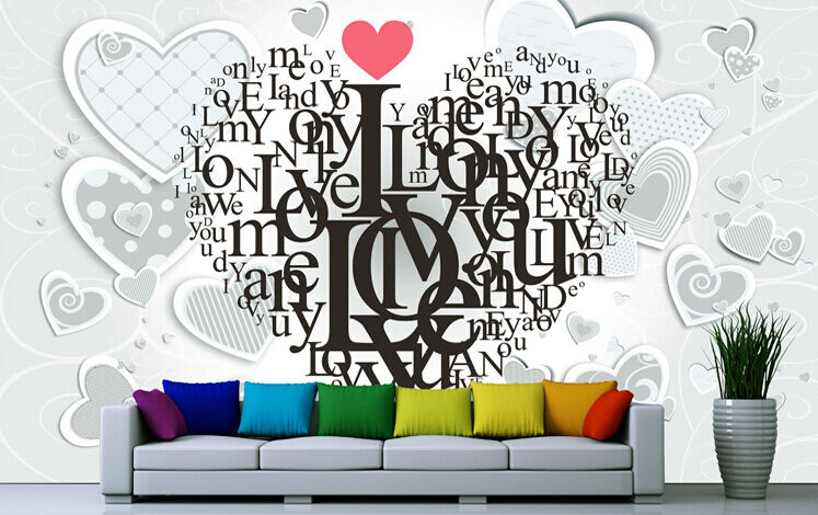 Huge 3D Heart-shaped Branch Wall Paper Wall Print Decal Wall Deco Indoor wall