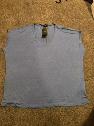 BNWT M/&S COLLECTION LADIES Short SLEEVED TOP SIZE 18 Blue Sparkle