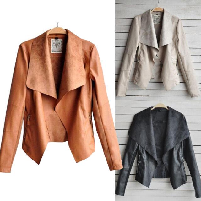 Women Slim PU Leather Jacket Blazer Biker Motorcycle Bolero Coat Vintage Outwear