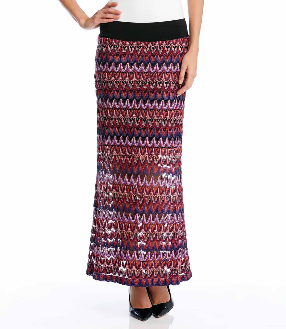 Karen Kane 4L19224 Burgundy-Multi Stretch Crochet Knit Maxi Skirt -