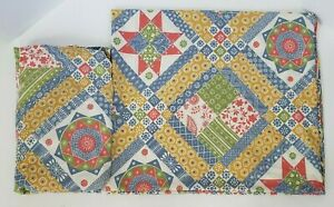 Vintage-Sear-039-s-Geometric-Percale-Sheet-Set-Queen