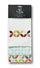 Cooksmart Retro Design Tea Towels Pack of 3 Multi Colour Cotton Drying Cloth New