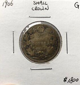 Canada-1906-Small-Crown-Silver-25-Cents-Quarter
