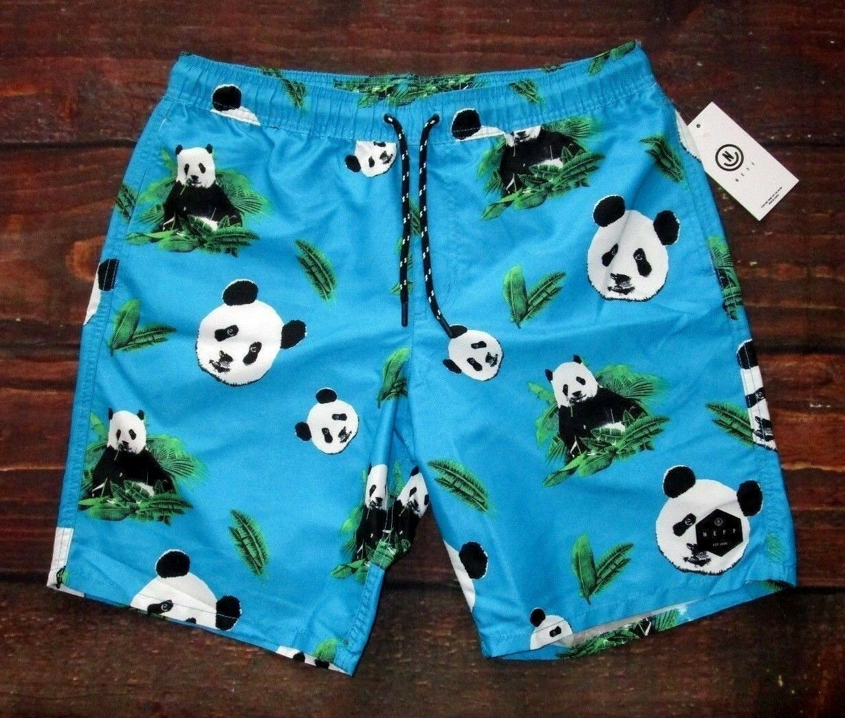 MENS NEFF PANDA BEAR DRAWSTRING SWIM BOARD SHORTS SIZE S