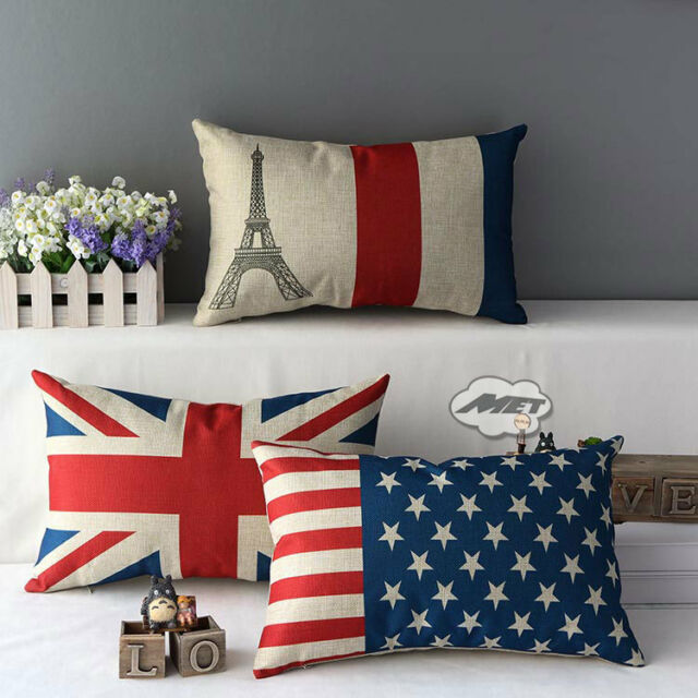 US&UK Flag Stripes Tower Decorative Throw Sofa Pillow Case Cushion Cover 30*50CM