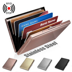 Stainless-Steel-Case-Slim-RFID-Blocking-Wallet-ID-Credit-Card-Holder-Men-Women