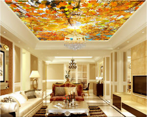 3D Yellow Maple Leaf 7 Ceiling Wall Paper Print Wall Indoor Wall Murals CA Carly