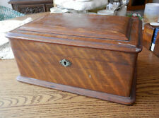 antique English quarter sawn oak poker chip box with 329 chips