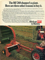 1974 Print Ad of Massey Ferguson MF 260 Forage Harvester Farm Tractor