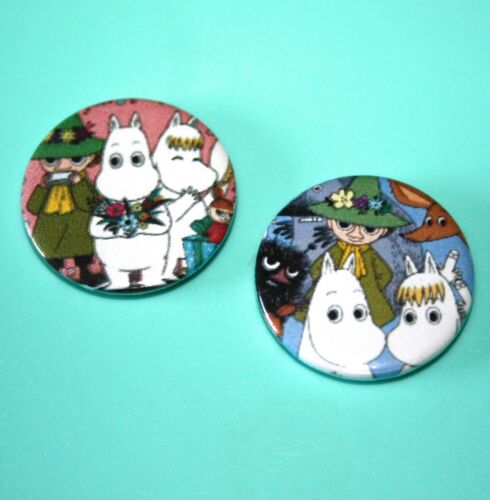 Set Of 2 Moomin Troll Snork Maiden and Snuffkin The Moomins Button Pin Bagdes