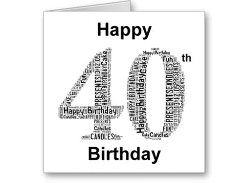Personalised Printed Typographic Forty// 40th Birthday Card// Gift Male//Female