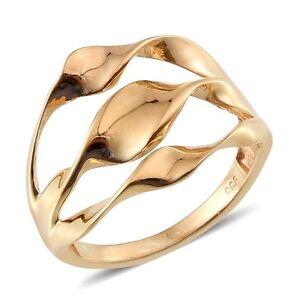Designer Inspired 14K Gold Overlay Sterling Silver Swirl Ring Silver size P - Sheffield, United Kingdom - Designer Inspired 14K Gold Overlay Sterling Silver Swirl Ring Silver size P - Sheffield, United Kingdom