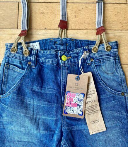 Scotch /& Soda Shrunk Boys Mens Denim Jeans Straps Suspender Braces Blue Slim Fit