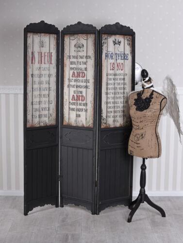 Paravent bois diviseur cloison 3tlg Vestiaire Antik séparateur de pièce Vintage Mur