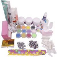Full Acrylic Powder Liquid Brush Form Glue UV Primer Glitter Nail Art Tips Kits