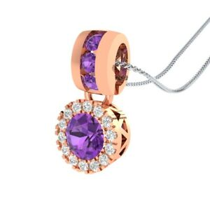 14k-Rose-Gold-GP-0-65-Ct-Round-Purple-Amethyst-and-Sapphire-Halo-Drop-Necklace
