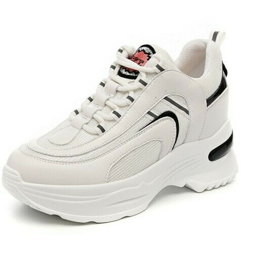 donna Real Leather Lace Up scarpe scarpe scarpe da ginnastica Trainners Platform Hidden Heel Sports scarpe 7689f5