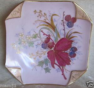 Bonita-Plato-Cuadrado-de-Decoracion-Porcelana-Limoges-o-Paris-Floral-Pintada
