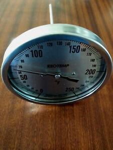 Reotemp MODEL J Bimetal Thermometer 0-250f 1//2in Npt