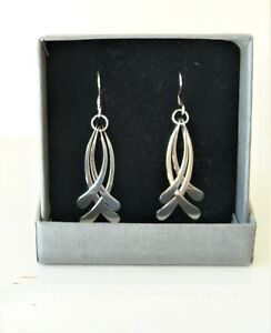 Image Is Loading New And Boxed Unusual Silver Drop Earrings Nice