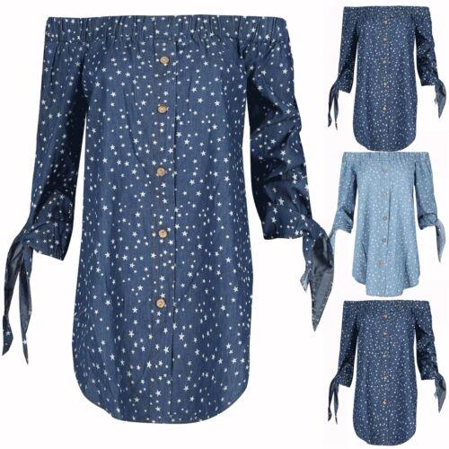 Señoras MUJERES 3//4 Lazo Manga Del hombro Stars impresión Camisa Vestido Bardot Top