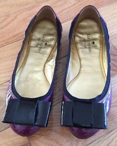 5e4ae6b4b3 EUC KATE SPADE Felice Purple Patent Leather black Bow Ballet Flats ...