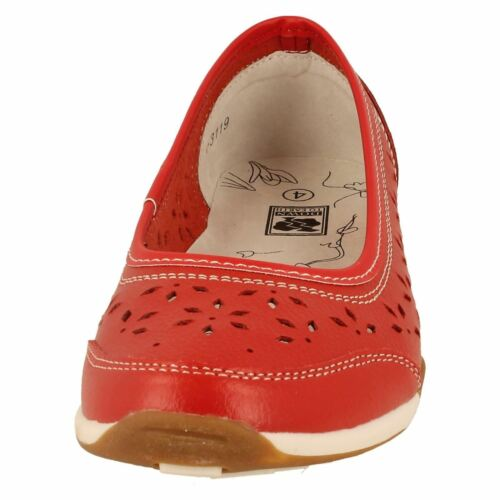 LADIES DOWN TO EARTH F3119 FLAT SHOES RED LEATHER FLOWER SUMMER FLATS SIZE 3-8