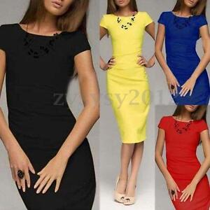 UK-STOCK-Womens-OL-Work-Short-Sleeve-Bodycon-Stretch-Vintage-Ladies-Midi-Dress