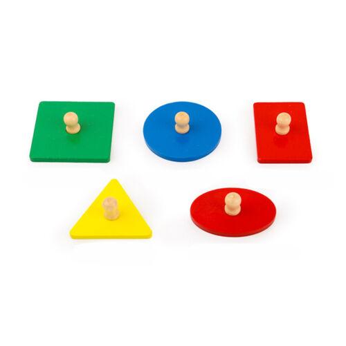 Criança Desenvolvimento Montessori Geometria De Madeira Brinquedo de blocos Peg Jigsaw-Quadrado
