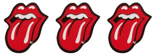Rolling Stones Tongue Logo 3.5 Inches Tall Embroidered Iron On Patch Set of 3