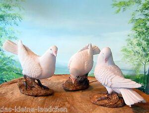 Schoene-weisse-Taube-16cm-Figur-Deko-Skulptur-wetterfest-Garten-natuerlich-Tauben