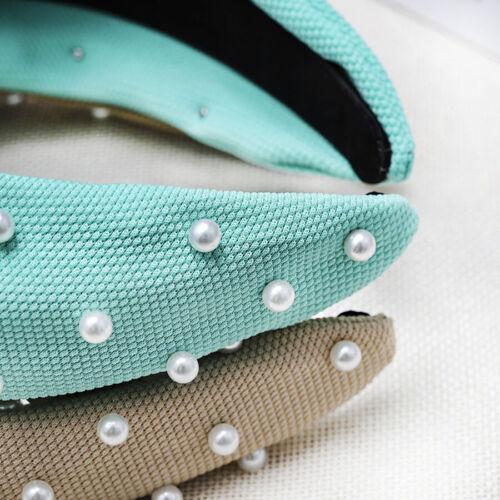 Women/'s Tie Headband Hairband Crown Pearls Wedding Hair Band Hoop Accessories