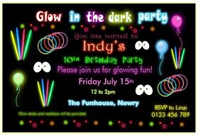 Details About 10 Personalised Children Glow In The Dark Party Invites Invitations W Envelopes