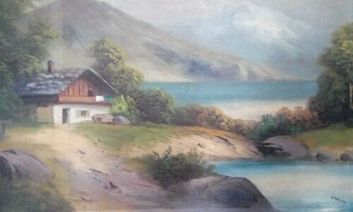 """Painting """"Haus am See"""" by Adolf Hitler A3 Print Replica Artwork Picture WW2"""