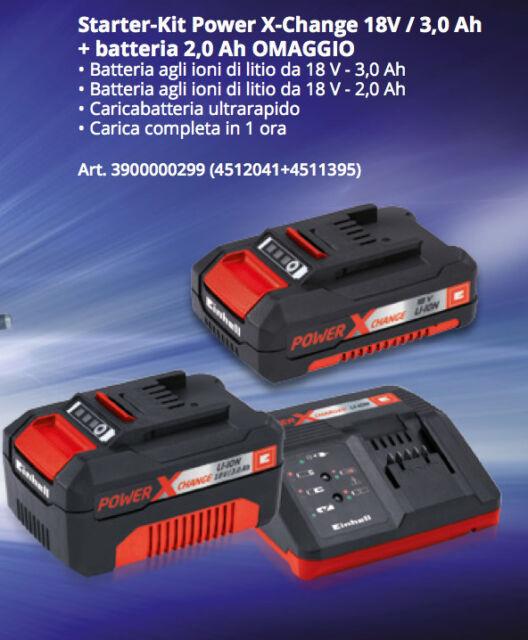 Caricabatteria rapido 2 batteria Einhell Power-X-Change 18V LITIO Kit 3AH + 2AH