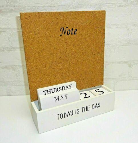 Ewiger Kalender Dauerkalender Holz Holzwürfel weiß Pinnwand Notizen Memoboard