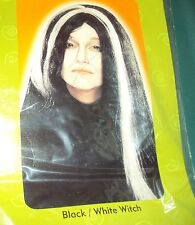 HALLOWEEN BLACK/WHITE WITCH WIG, NEW!
