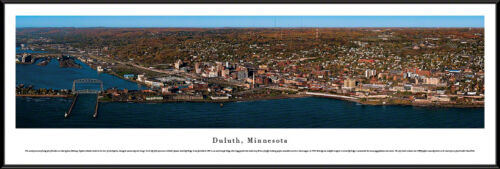 Duluth, Minnesota City Skyline Lake Superior Aerial Lift Bridge Framed Picture I
