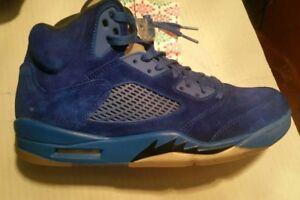 NIKE Air Jordan 5 V Retro Blue Suede Game Royal Black Size 11.5 ... 184939e59