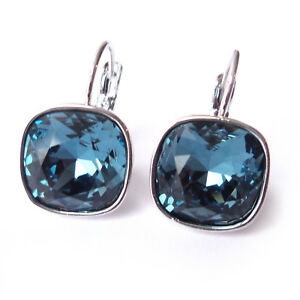 41a0c79b5 Image is loading Navy-Blue-Drop-Earrings-with-Denim-12mm-Cushion-