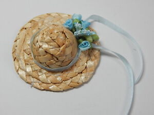 """Doll House Miniature Straw Hat 2/"""" Mini Straw Hat Hand Made #Z157-RD"""
