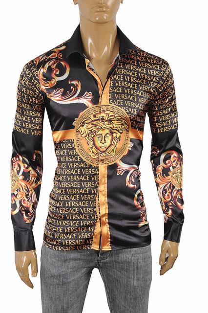 cd19073d8 VERSACE Medusa Men's Dress Shirt Long Sleeve Black and Gold color 178 Size L