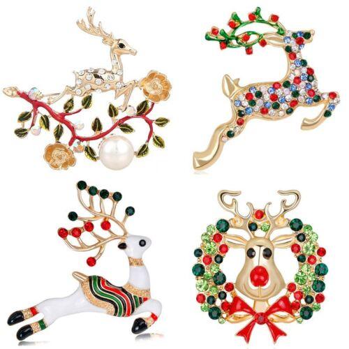 Fashion Christmas cristal animal Deer ELK Bouquet Brooch Pin Jewelry Party Cadeau