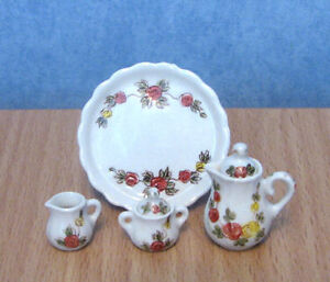 1-12-Dolls-House-Miniature-4pc-Serving-Dinner-Tea-Set-Kitchen-Dining-room-BN-LGW