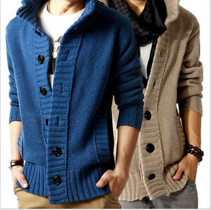 New-Trench-Mens-knit-cardigan-Sweater-Casual-Coat-Korean-Slim-Line-Fit-Jacket
