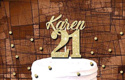 Number 21 Glitter Cake Topper 21st Birthday Party Custom Name Cake Decoration Ebay