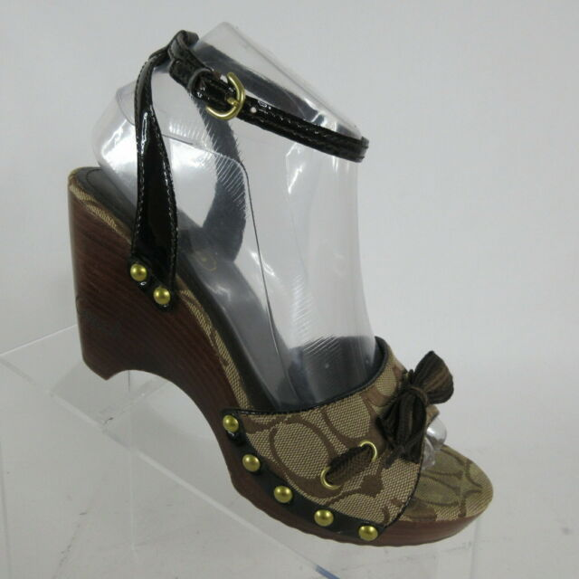 Coach Betsey Signature C Brown Tan Wooden Wedge Heels Size Womens Size 7 M