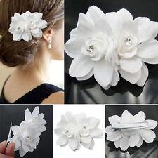 Fashion Women Summer Hair Clip Bridal Wedding Orchid Flower Crystal Barrette Hot